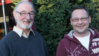 Bruno Cereghetti (links), Präsident des Bewohnervereins Augarten, und OK-Chef Hansjörg Derrer, verantwortlich für die Jubiläumsschau. rom