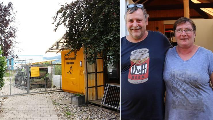 Martin und Jeanette Eggenberger vor dem Hundehaus: Auf dem 11'000 Quadratmeter grossen Areal des Tierferienheims Büelacher soll investiert werden.