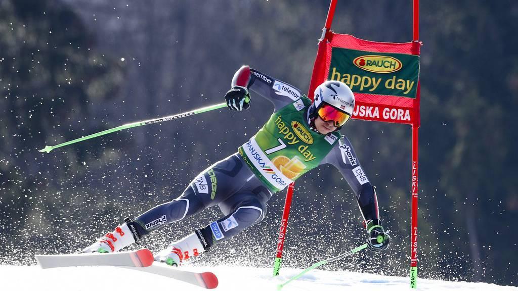 Führt nach dem ersten Lauf des Riesenslaloms in Kranjska Gora: Henrik Kristoffersen.