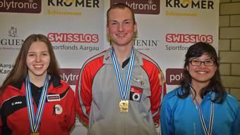Die drei Finalsieger: (von links) Selina Koch (U21), Ivan Füglister (Männer) und Darunee Frossard (Frauen.)