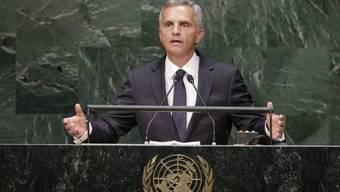 Bundespräsident Burkhalter spricht am UNO-Sitz in New York (Archiv)