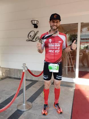 Am Ironman 70,3 in Rügen sicherte sich Michel Stalder einen guten 4. Platz.