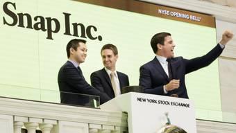 Hier war alles noch in Ordnung: Das Snap-Management feiert am 2. März 2017 den Börsengang in New York. (Archivbild)