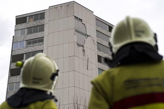 Der Sturm beschädigte auch die Fassade dieses Wohnhauses in Littau.
