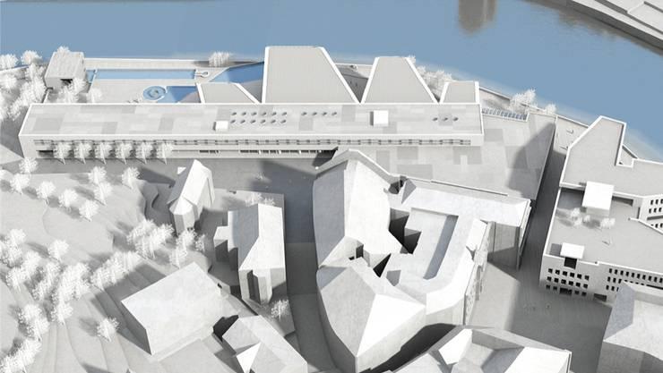 Aufsicht auf den Bereich des Bäderprojekts der Verenahof AG mit Bad (oben), Wohn-/Ärztehaus (links) und «Verenahof»-Geviert (Mitte).