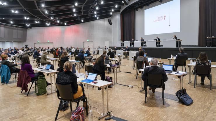Der Landrat tagt wegen den Vorsichtsmassnahmen gegen das Coronavirus im Congress Center in Basel.