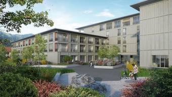 Um die drei ineinandergreifenden Baukörper führt ein Rundweg für die Bewohner. Das St. Bernhard wird 123 Zimmer und 45 Wohnungen haben.