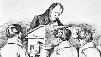 Hegel 1828 in Berlin bei einer Vorlesung.