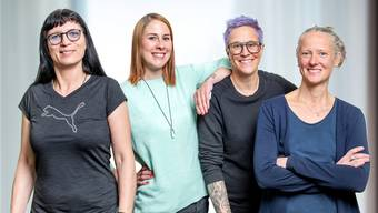 Das sind die Mitarbeiterinnen des Atelier Aloïse Corbaz in Neuendorf: (v.l.) Claudia Brander, Deborah Fabian, Eliane Lehmann, Daniela Müller.