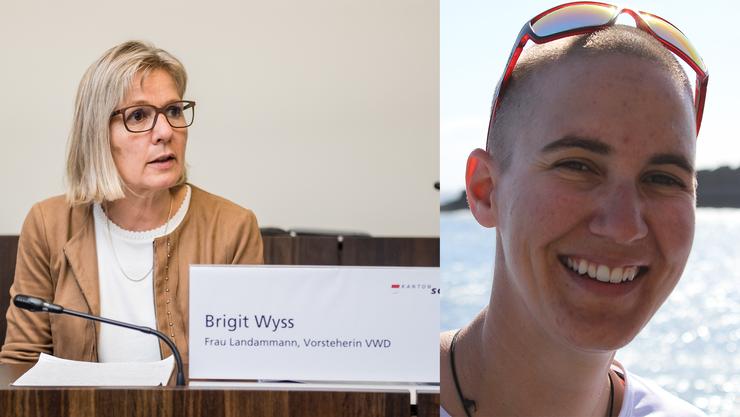 Regierungsrätin Brigit Wyss und Atlantikruderin Carla Lemm