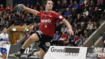 Aarau, 27.11.2016. Sport, Handball NLA 2016/2017. HSC Suhr Aarau - HC Kriens. Patrick Romann (Suhr) in der gut gefuellten Schachenhalle. Copyright by: foto-net / Alexander Wagner Handball, NLA: HSC Suhr Aarau - HC Kriens