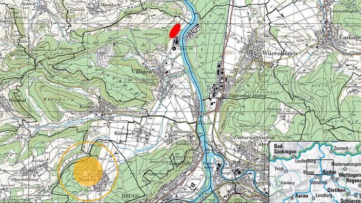 Die Karte vom Bundesamt für Energie zeigt die Oberflächenanlage (rot) in Villigen und den Haupterschliessungsbereich (gelb) in Riniken für allfällige geologische Tiefenlager im Perimeter Jura Ost (Bözberg).