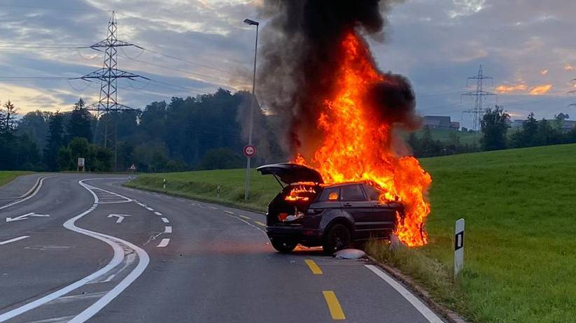 In Baar ist ein Auto nach einem Selbstunfall ausgebrannt