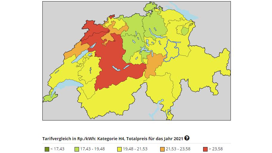 Die kantonalen Strompreise im Vergleich