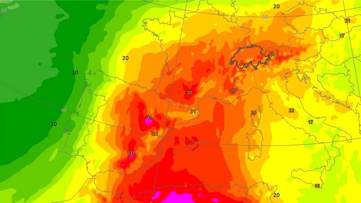 Die Karte zeigt die Temperatur auf rund 1600 Metern am kommenden Mittwochnachmittag. Am Boden sind die Temperaturen deutlich höher.