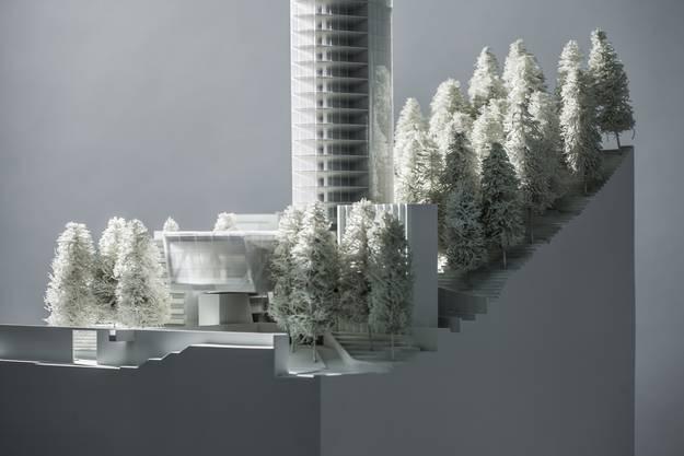 So soll der 381 Meter hohe Turm in Vals aussehen