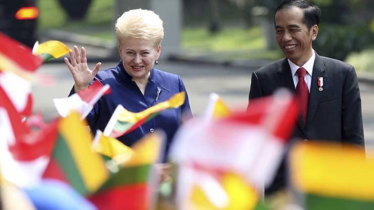 Indonsiens Präsident Joko Widodo (r), bei einem Besuch der litauischen Präsidentin Dalia Grybauskaite, ist in die Kritik geraten, weil er bei einem offiziellen Termin superleichte teure Turnschuhe trug. (Archiv)