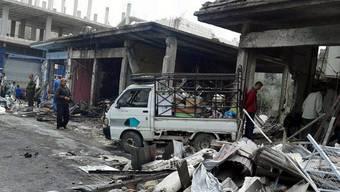 Bild der Zerstörung nach dem Doppelanschlag in der Ortschaft Machram Faukani.