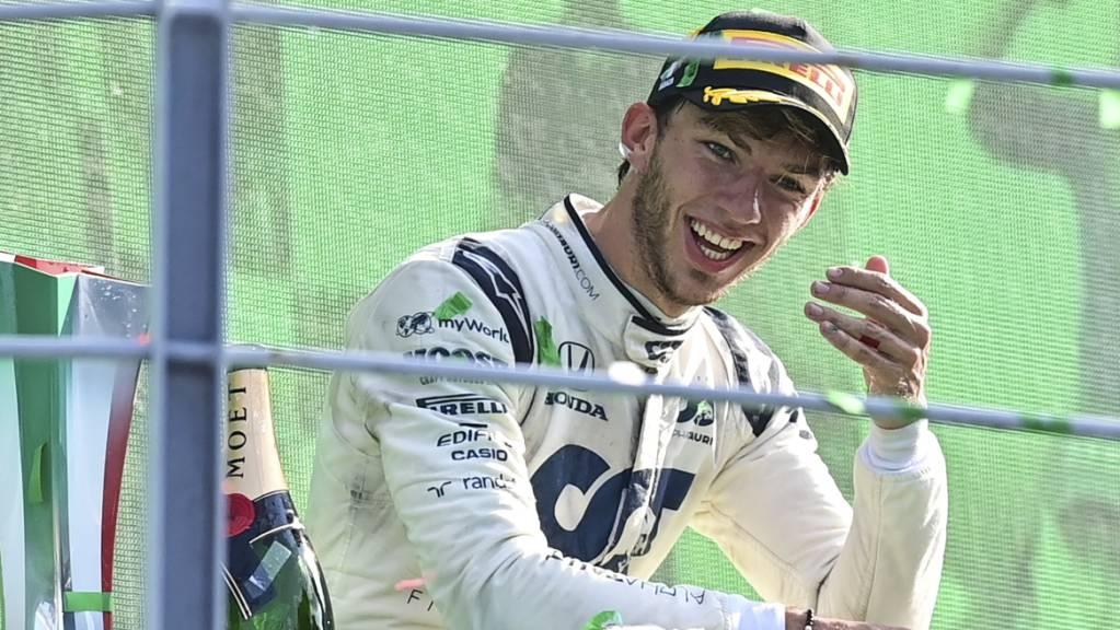 Freude pur: Pierre Gasly nach seinem Überraschungssieg in Monza