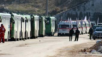 Busse und Krankenwagen bringen Menschen von Ost-Aleppo weg