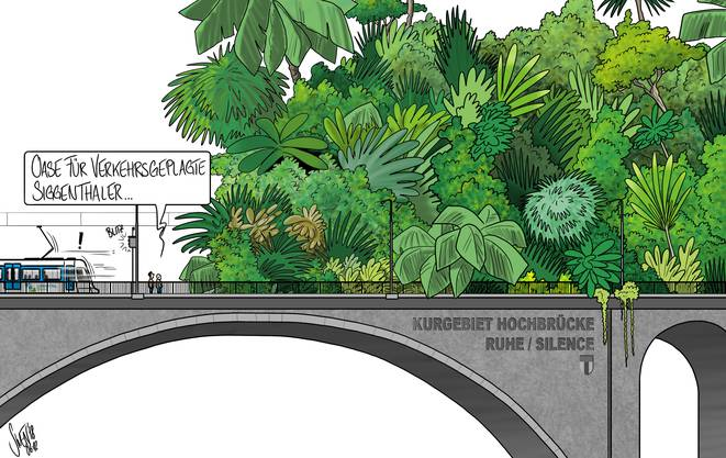 7. Dezember 2018: Die Hochbrücke in Baden soll ab 2040 für Autos gesperrt und zu einem Trassee für die Limmattalbahn werden. Unser Karikaturist hat weitere Ideen.
