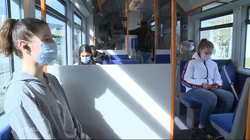 Mundschutztragetest in Wynental-und Suhrentalbahn