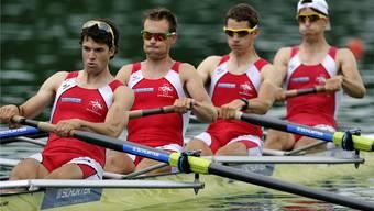 Testlauf gegen die Weltelite: Mario Gyr, Simon Niepmann, Lucas Tramèr and Simon Schürch (von links) wollen beim Heim-Weltcup zeigen, dass mit ihnen bei Olympia zu rechnen ist. Keystone