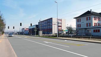 Die Visualisierung zeigt den zukünftigen SBB-Übergang Hectronic an der Aarauerstrasse in Brugg. zvg