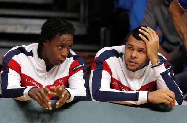 Verfolgen das Spiel von der Bande: Gaël Monfils und Jo-Wilfried Tsonga