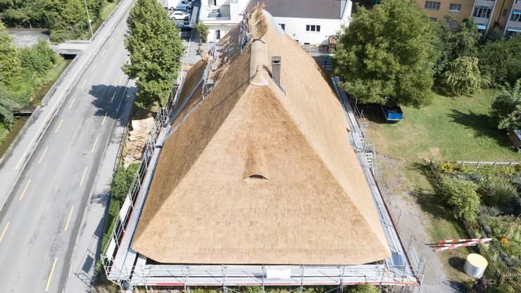 Das Kölliker Strohdachhaus bekommt ein neues Dach aus Schilf.
