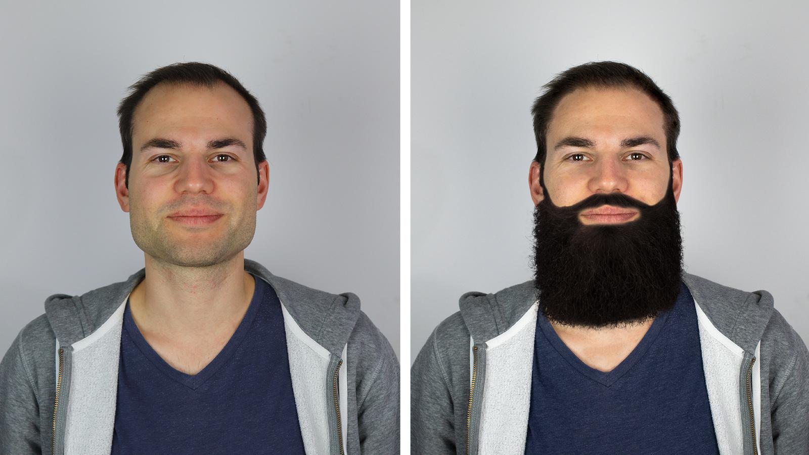 Unser Model Ralph macht Werbung für ein Haarwachstumsmittel. Deshalb haben wir ihn frischer aussehen lassen und hie und da einige Haare hinzugefügt. (© Radio 24)