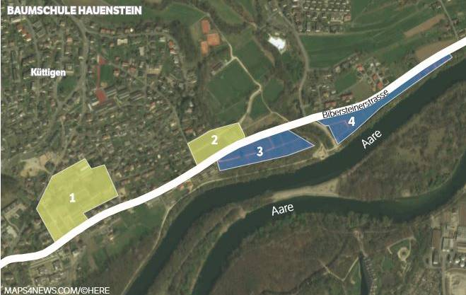An vier Standorten ist die Hauenstein Baumschulen AG heute tätig. 1 und 3 verschwinden, der Betrieb wird auf die Standorte Waagacher (3) und Unterweg (4) konzentriert.