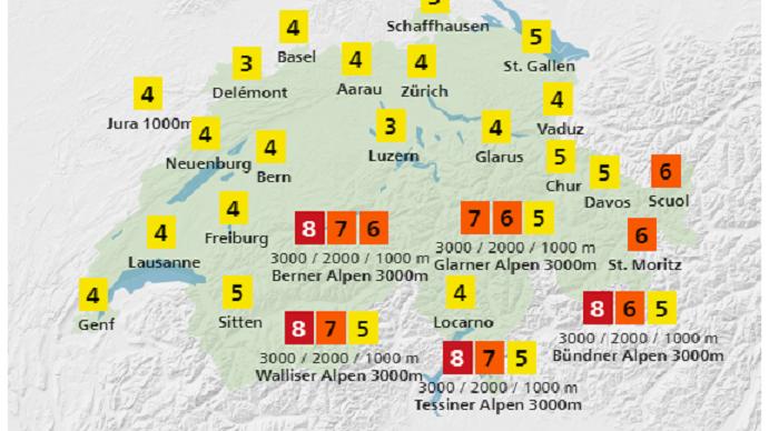 Der UV-Index von MeteoSchweiz vom 19.4. zeigt auch im Flachland Intensitäten von 3 bis 8. Das bedeutet: Schutz erforderlich (Hut, T-Shirt, Sonnenbrille, Sonnencreme).