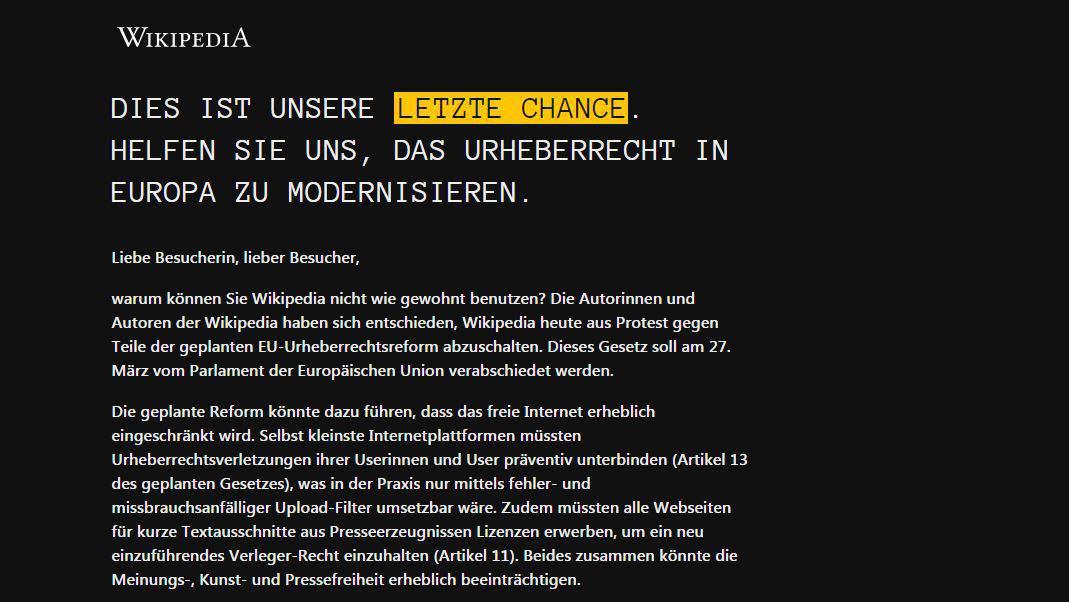 Streik! Bei Wikipedia läuft heute gar nix
