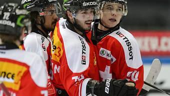 Denis Hollenstein traf zum 2:0 und 4:1 für die Schweizer.