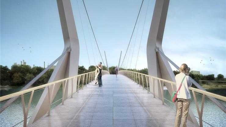 Die beiden Rheinfelden möchten das Projekt Rheinsteg nicht fallen lassen. Visualisierung: Render-Manufaktur