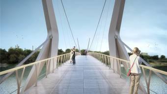 Ob den Rheinsteg je ein Fussgänger oder Velofahrer betritt, entscheidet sich am 19.Juni. Visualisierung: Render-Manufaktur