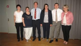 So präsentiert sich der neue Vorstand (v.l.): Heidi Schindelholz, Heidi Stampfli, Denis Borgel, Präsidentin Silvia Stöckli, Raphael Bader und Isabella Lisser.
