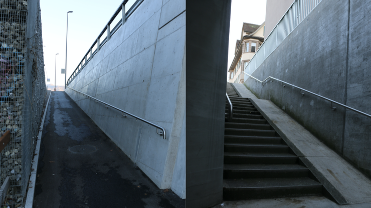 Die Aufgänge zur Haltestelle Schellenacker (links Richtung Turgi, rechts Richtung Baden) können mit Kinderwagen oder Rollstuhl herausfordernd sein.