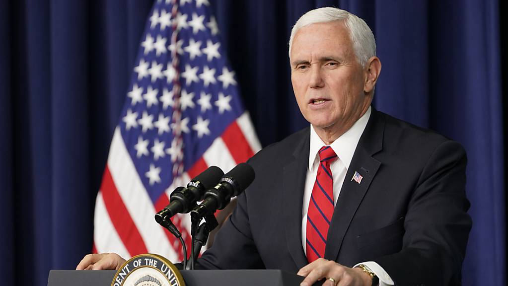 Mike Pence, Vizepräsident der USA, spricht während einer Veranstaltung auf dem Gelände des Weissen Hauses.