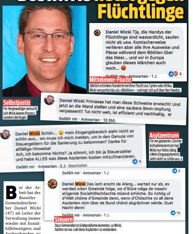 """Screenshots von Wickis Posts im """"Blick""""."""