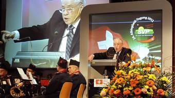 Nationalrat Christoph Blocher während seiner Rede