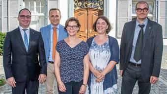 Sie sollen Schwung ins Regierungsgebäude bringen (v.l.n.r.): Stephan Burgunder (FDP), Yves Krebs (GLP), Pascale Meschberger (SP), Meret Franke (Grüne) und Ermando Imondi (SVP).