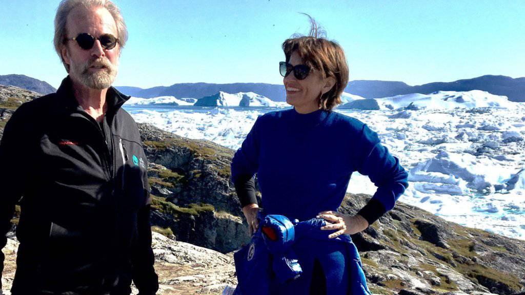 Bundespräsidentin Doris Leuthard mit WSL-Direktor Konrad Steffen bei Ilulissat in Grönland