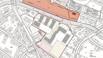 Auf dem rot gefärbten Areal Haldenacher wird der Neubau stehen.