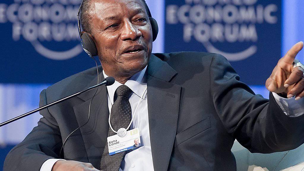 Dürfte die Wiederwahl geschafft haben: Guineas Präsident Alpha Condé kommt bei der Wahl nach ersten Auszählungen auf über 80 Prozent der Stimmen.