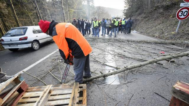 Blockade am Grenzübergang Vallorbe-Jougne