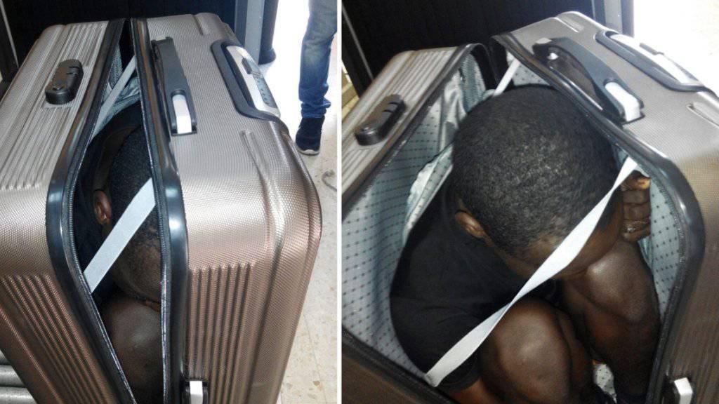 In einen Koffer gezwängt wollte ein junger Flüchtling aus Gabun in die EU gelangen. (Fotos: Spanische Polizei)