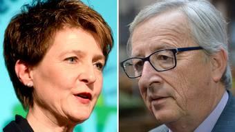 Simonetta Sommaruga will mit der EU verhandeln. Jean-Claude Juncker pocht auf die Grundprinzipien der EU.