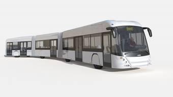 Visualisierung des 24.5 Meter langen Hess-E-Bus für Nantes.